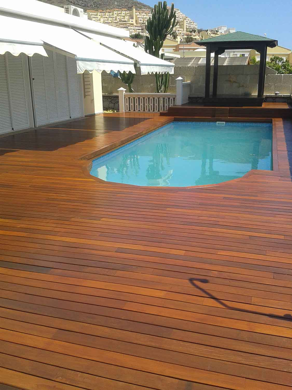 Tarima exterior madera natural ipe parquet las palmas for Piscina exterior madera